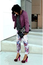 magenta escada jacket - gray acid wash Forever 21 sweatshirt