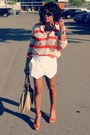 Carrot-orange-stripe-necessary-objects-shirt-white-zara-shorts
