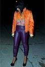 Orange-quilted-fur-jacket-orange-scarf-print-h-m-blouse