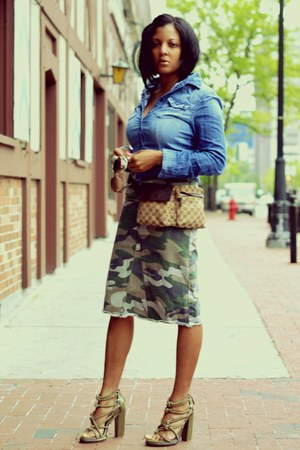 denim H&M shirt - fanny pack Gucci bag - camouflage skirt