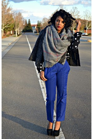 heather gray plaid Zara scarf - blue Cut25 pants
