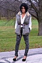dark khaki Ralph Lauren vest - gray stripe Tommy Hilfiger shirt
