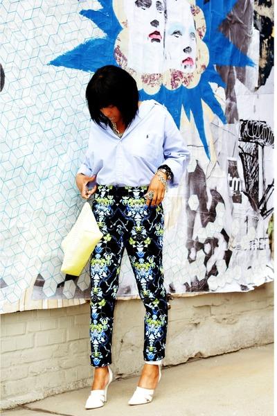 blue print Nine West pants - light blue Ralph Lauren shirt