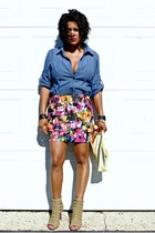 hot pink floral print BELLE DU JOUR skirt - tan Donald J Pliner shoes