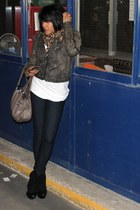 Rock & Republic boots - Juicy Couture jeans - leather rachel rachel roy jacket -