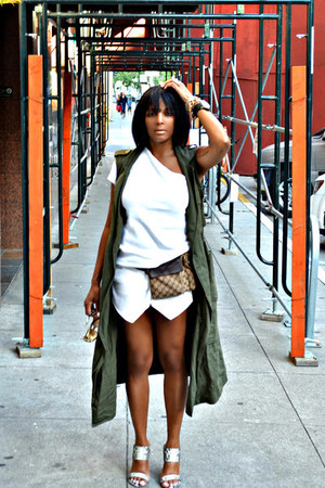 white Zara shorts - white Tart top - army green cargo Who What Weaer vest