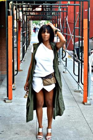 white Zara shorts - white Tart top - army green cargo Who What Weaer vest