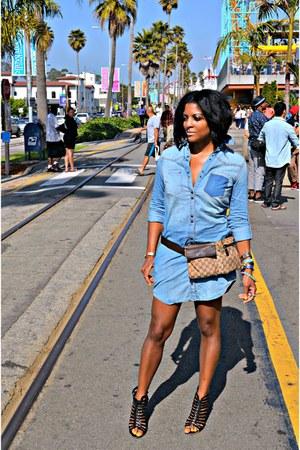 sky blue denim dress - black Dolce Vita sandals