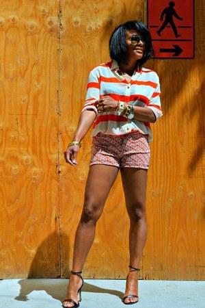 orange printed shorts - white stripes necessary clothing blouse