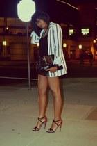 black leather Joie shorts - ivory stripe Zara blazer