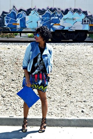 blue tribal skirt - sky blue denim jacket citizens of humanity jacket