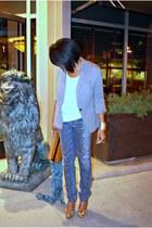 tawny leopard print Jessica Simpson heels - blue leopard print Bebe jeans