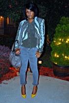 white printed H&M jacket - gray skinny XOXO jeans - black victor alfaro blouse