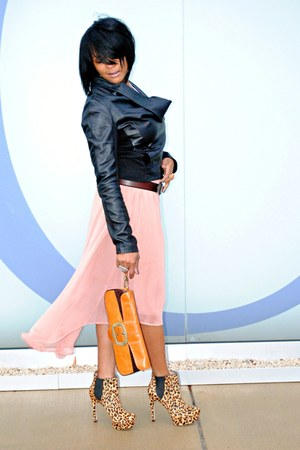 peach high-low blue bird skirt - black leather BCBGeneration jacket