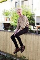 light yellow plaid shirt vintage shirt - black skinny jeans Zara pants