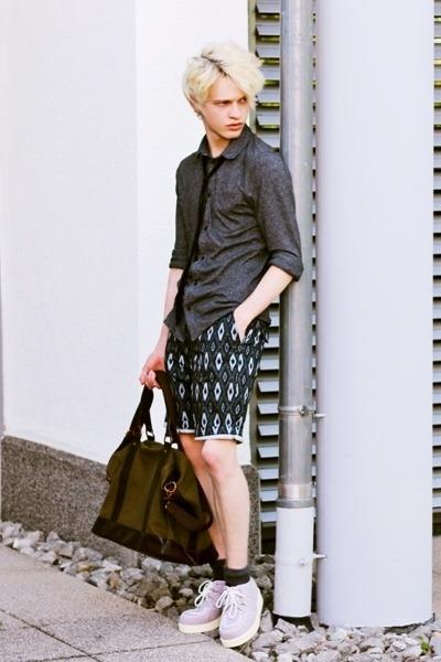gray Zara shirt - army green H&M bag - dark gray H&M shorts