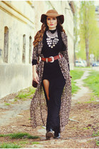 black leather Stradivarius boots - Bershka dress