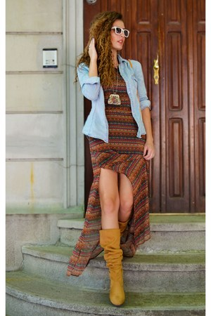 mustard faux leather unknown brand boots - burnt orange maxi dress Bershka dress