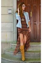 mustard faux leather unknown brand boots - burnt orange maxi dress Bershka dress