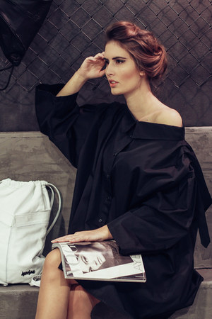 black cotton Marija Rajna Stanisic shirt - black mary janes Mary Jane heels