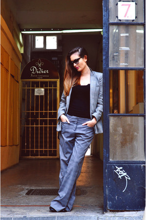black Mango blazer - silver Orsay pants - black black Zara top