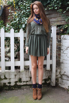 green American Apparel blouse - brown Pull and Bear boots