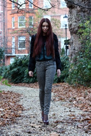 gray Paige jeans - black sheepskin Topshop jacket - teal Zara shirt