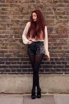 black leather vintage shorts