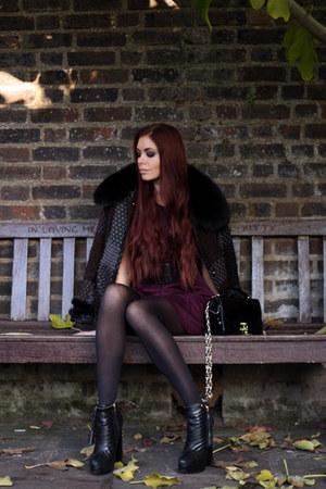 crimson Love dress - dark gray ferre coat