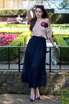navy American Apparel skirt - tan diy H&M top