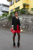 black blazer - pink skirt - black Alexander Wang boots - pink purse