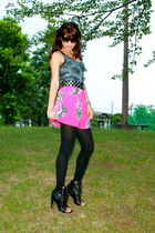 black Tom Ford sunglasses - gray Dollhouse top - pink Forever 21 dress - black c