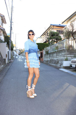 blue shirt - blue skirt - white Christian Louboutin espadrilles shoes - white Ju