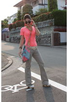 orange t-shirt - brown sunglasses - beige shoes - beige pants - beige belt - ora