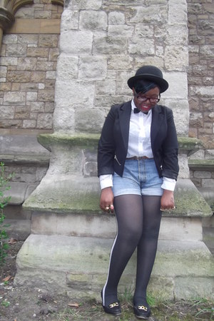 black cropped new look blazer - black two tone unknown brand tights - black Urba