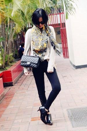 silver Zara scarf - black acne boots - black Chanel bag