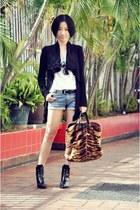 dark brown longchamp bag - black Zara boots - black Ray Ban sunglasses