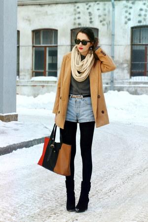 Sheinside coat - Levis shorts - Ray Ban sunglasses