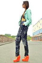 light blue studded Zara jacket - gray Lipsy bodysuit - orange Senso wedges