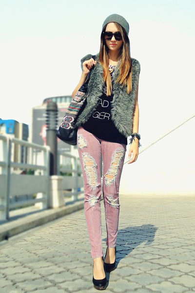 heather gray faux fur DIY vest - pink material girl jeans - black H&amp;M top