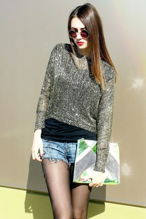 sequined Choies top - envelope clutch Topshop bag - diy D&G shorts