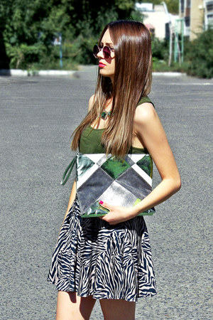 asos necklace - Topshop bag - Topshop sunglasses - Topshop skirt
