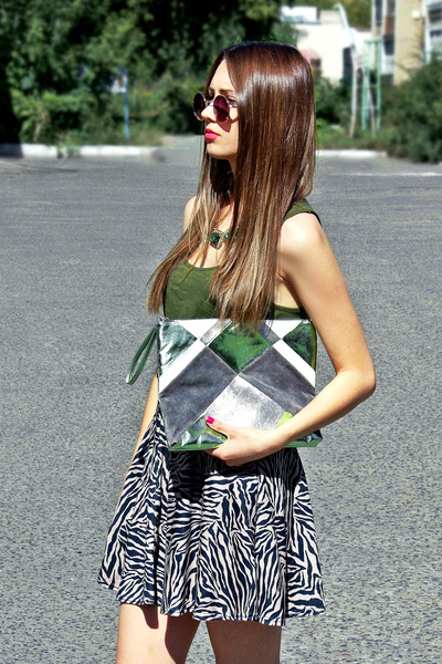 asos necklace - Topshop bag - Topshop sunglasses - Topshop skirt