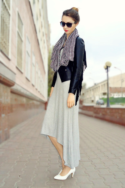 black fringed jacket - silver Zara dress - white houndtooth scarf