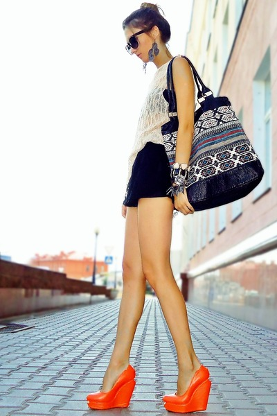 teal Billa Bong bag - black lace Bershka shorts - orange Senso wedges
