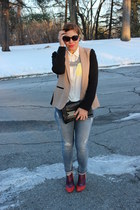 JCrew blazer - calvin klein boots - Gap jeans - Forever 21 shirt - H&M necklace