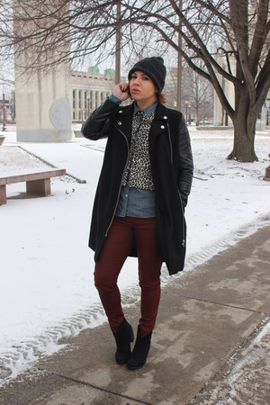 ann taylor jacket - Forever 21 boots - Forever 21 coat - JCrew shirt - H&M pants