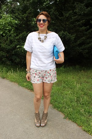 Gap shorts - H&M bag - Charlotte Russe wedges - Gap top - Michael Kors watch