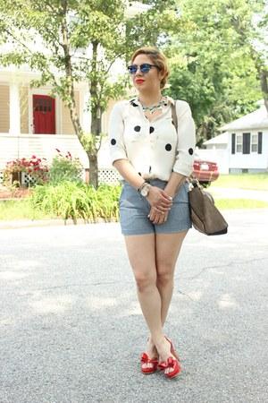 Loft blouse - asos bag - Gap shorts - Rampage pumps - Michael Kors watch