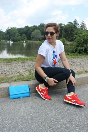 Reebok sneakers - H&M bag - Loft pants - Zara t-shirt